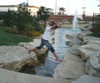 Having family fun jumping the stream at the Arlington Highlands Mall
